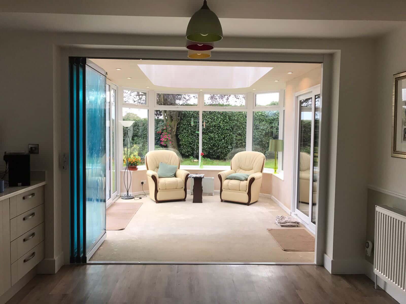 3-door frameless room divider